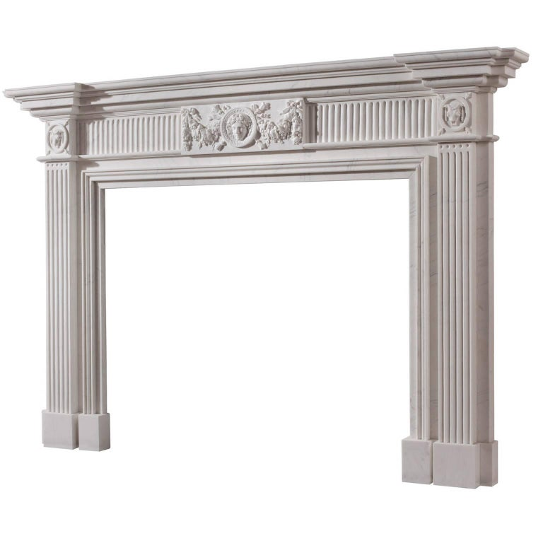 18th century georgian style hand carved white marble for Marble mantels for sale