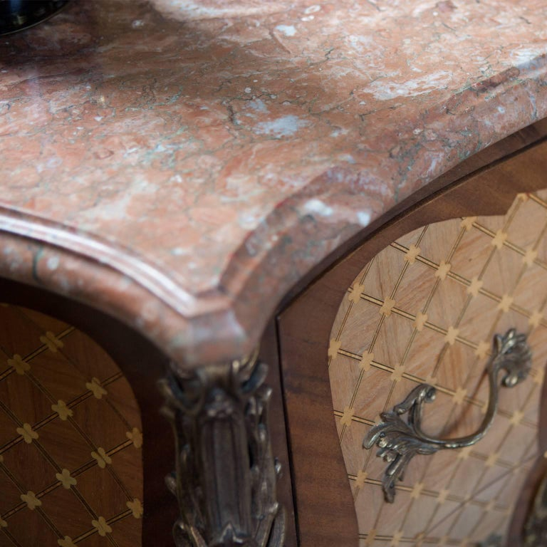 Marble 20th Century French Ormolu Gilt Chest with Inlay For Sale