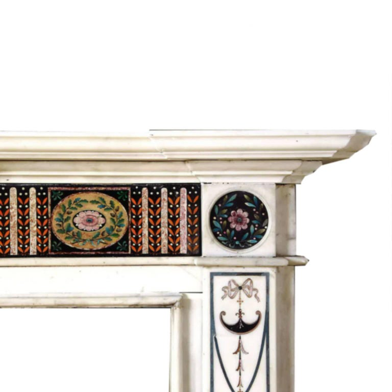 18th Century Bossi Hand-Carved Statuary Marble Fireplace with Scagliola Inlay In Good Condition For Sale In London, GB