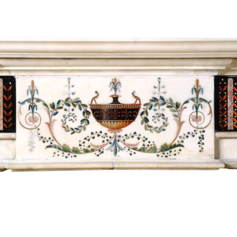 Thiswhite hand-carved marble chimney-piece with Scagliola inlayand break fronted shelf attributed to Pietro Bossiwho is known to have worked in Dublin from 1785-1798.  Not much is known about Pietro Bossi, although much inlay work of the late