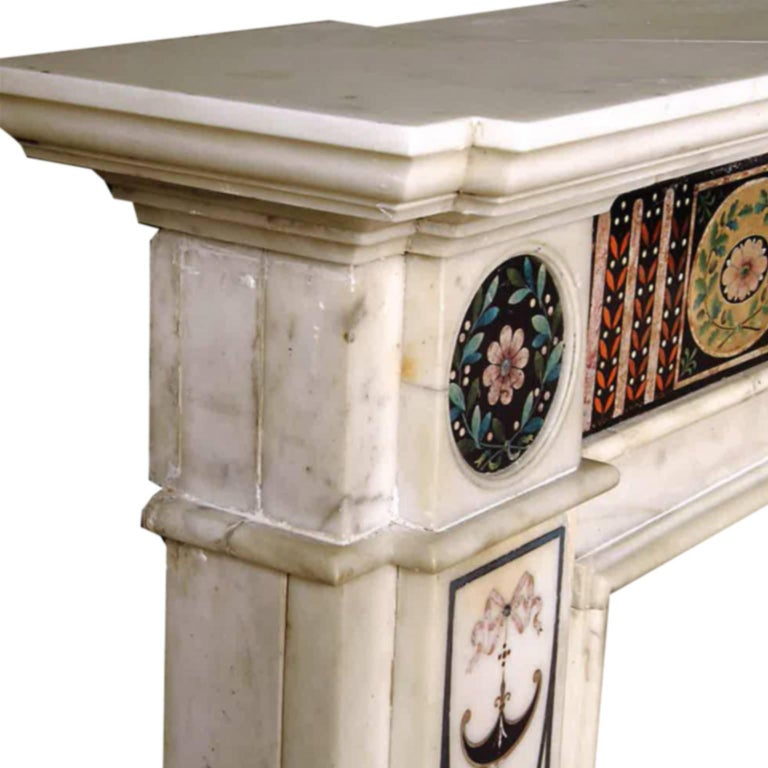 18th Century Bossi Hand-Carved Statuary Marble Fireplace with Scagliola Inlay For Sale 2