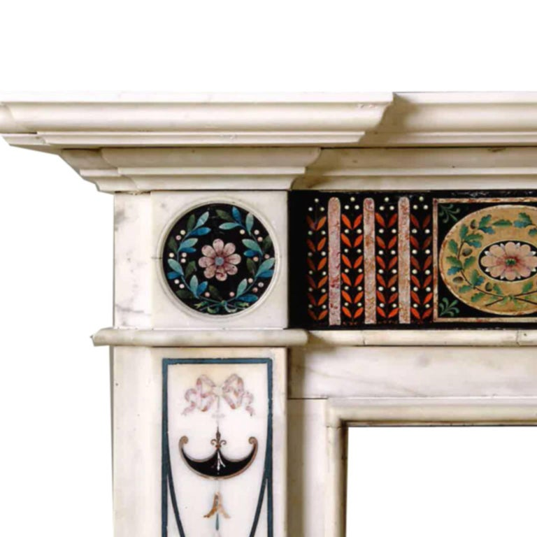British 18th Century Bossi Hand-Carved Statuary Marble Fireplace with Scagliola Inlay For Sale