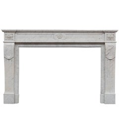 19th Century French Louis Philippe Cararra Marble Fireplace Mantelpiece