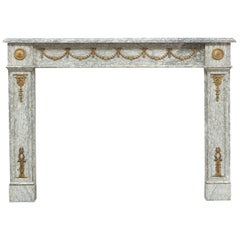 Pair of 19th Century French Louis Philippe Marble & Brass Fireplace Mantelpieces