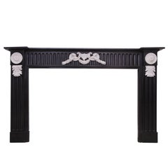 19th Century Belgium Black Marble Fireplace Mantelpiece