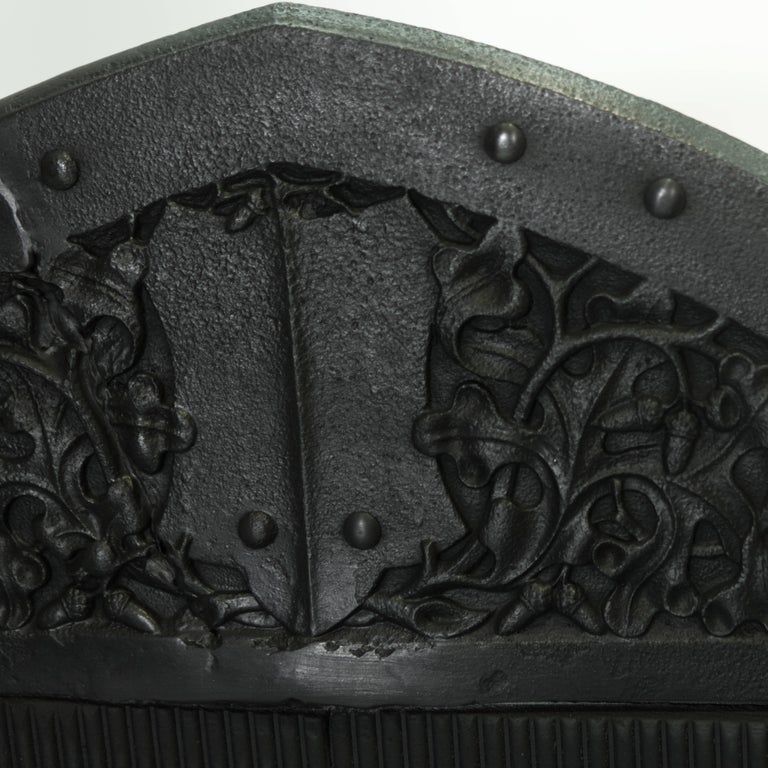 Cast 19th Century Black Gothic Antique Griffin Fire Basket For Sale