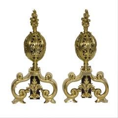 19th Century Antique Brass Fire Dogs, Pierced Globes Flame-Burst Finials
