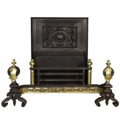 18th Century Georgian Cast-Iron and Brass Fire Basket