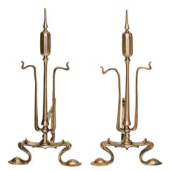 20th Century Art Nouveau Copper Andiron, Fire Dogs