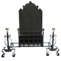 19th Century Georgian Cast-Iron Fire Basket, High Back