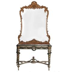 Late 19th Century Italian Console Table Large Rococo Guilt Mirror