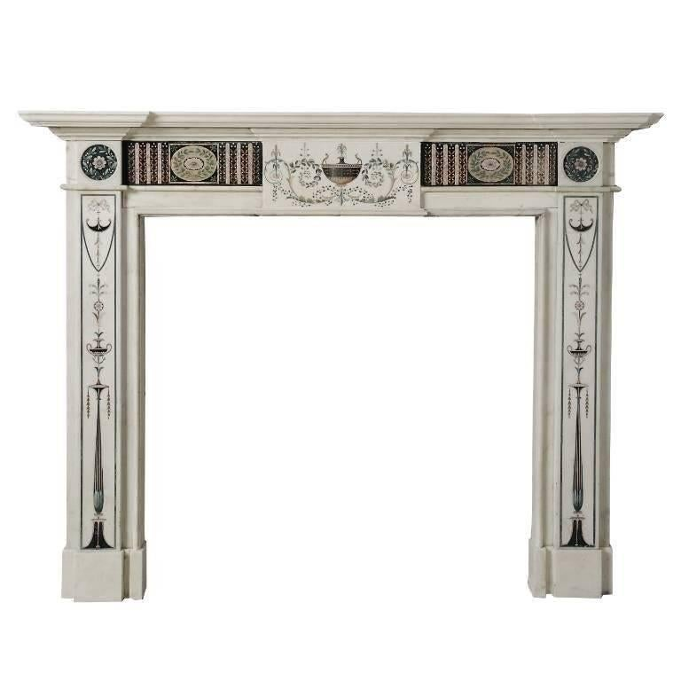 18th Century Bossi Hand-Carved Statuary Marble Fireplace with Scagliola Inlay For Sale 3