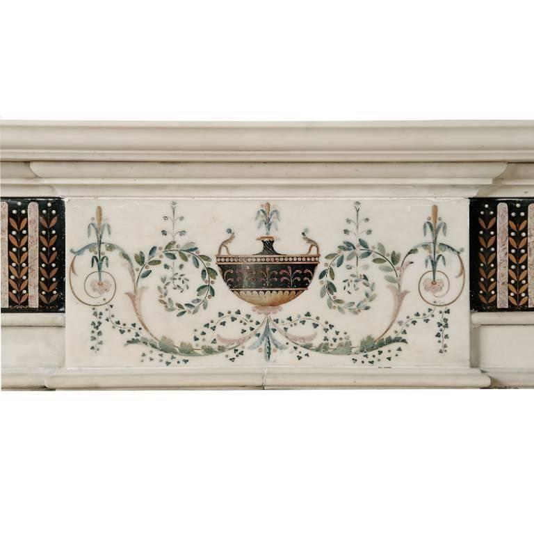 18th Century Bossi Hand-Carved Statuary Marble Fireplace with Scagliola Inlay For Sale 4