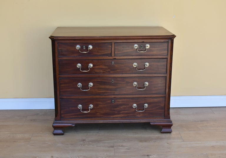 English 18th George III Century Chippendale Period Mahogany Chest of Drawers For Sale