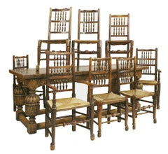 20th Century Carved Oak Refectory Table and 8 Lancashire Chairs