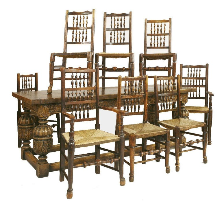 20th Century Carved Oak Refectory Table And 8 Lancashire Chairs For