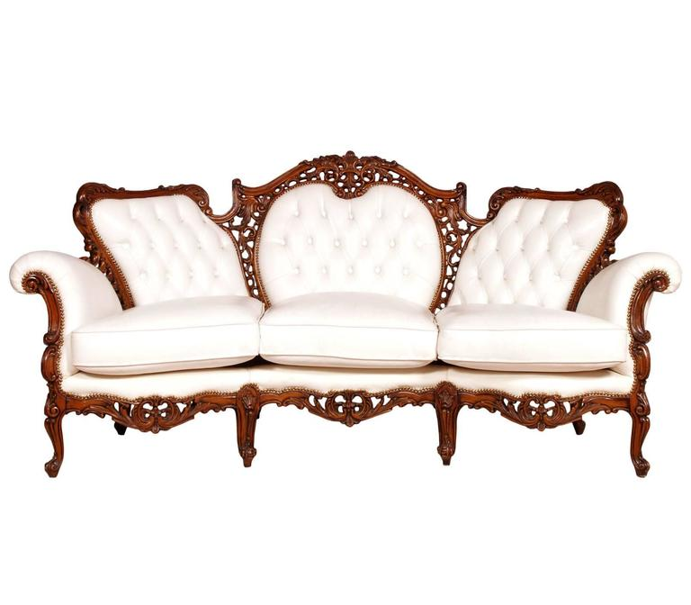 early 20th century venetian rococo baroque capitonné sofa with a pair of  armchairs in carved solid CC55TE31
