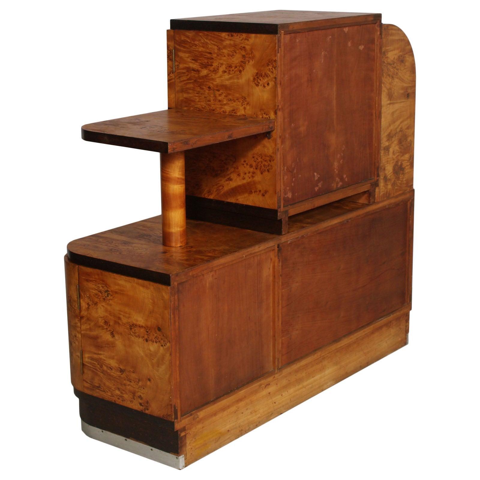 1930S Italian Art Deco Sideboard Buffet In Burl Elmwood Osvaldo