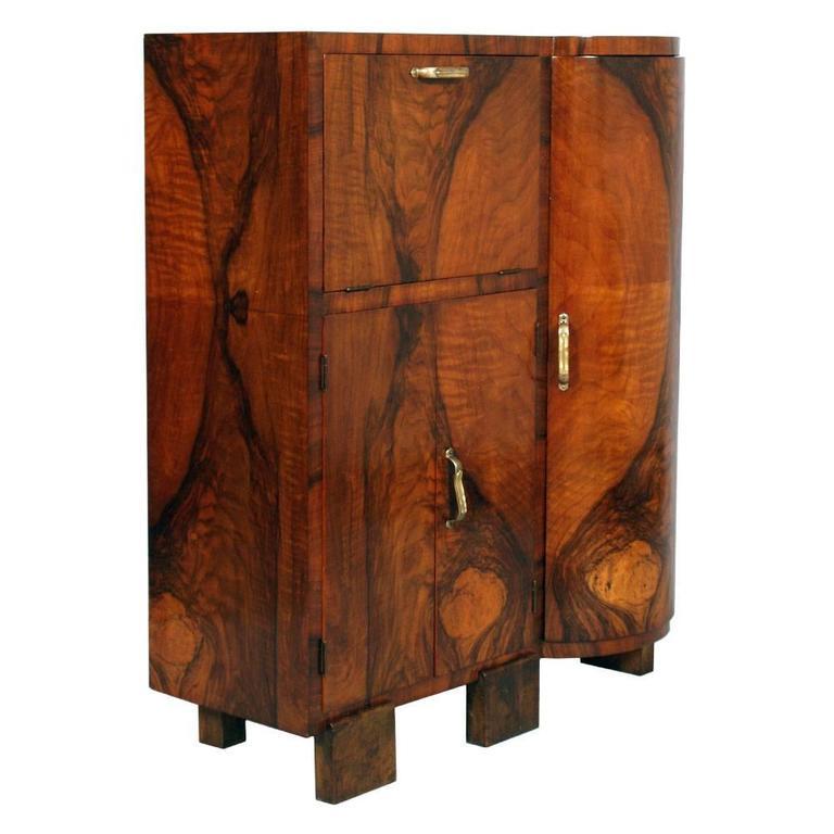 Art Dec 242 1930s Cabinet Buffet Sideboard Burl Walnut By
