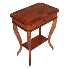 19th Century Walnut Saber Legs Small Table Bedside Top Walnut Applied and Inlaid