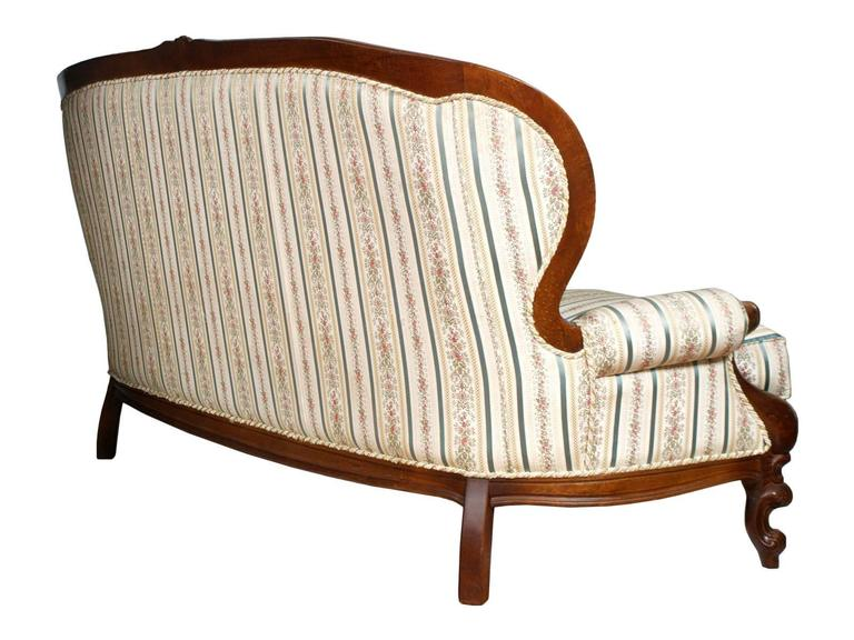 Baroque Revival 19th Century Venetian Baroque Sofa, Settee, good Upholstery, Hand-Carved walnut For Sale