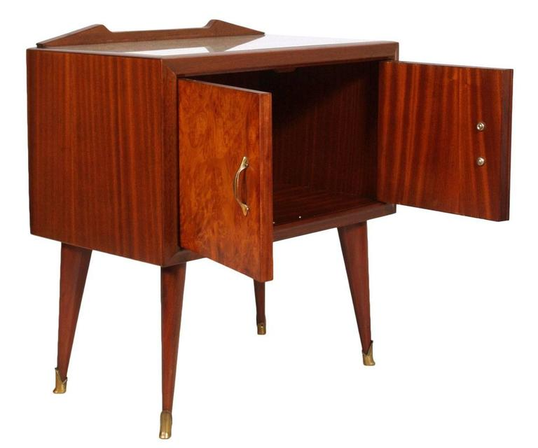 midcentury paolo buffa bedside table, rosewood and elm burl folder