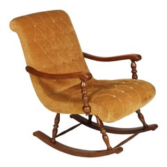 Midcentury Modern Velvet Capitonè Italian Original Rocking Chair in Walnut Frame