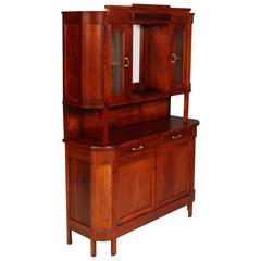 1910s Antique Country Period Sideboard Display Cabinet Solid Walnut and Fir