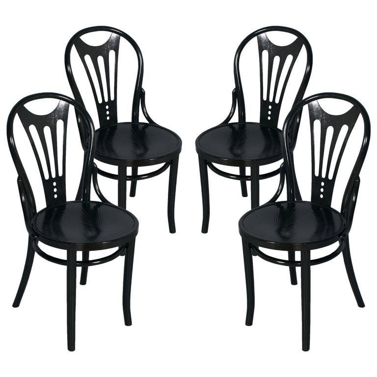 1920s Four Black Ebonized Thonet Chairs Art Nouveau For Sale