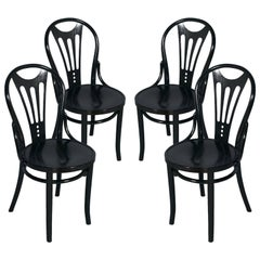 1910s Four Black Ebonized Thonet Chairs Art Nouveau Belle Epoque