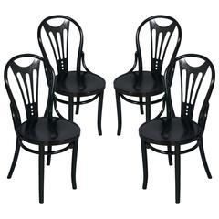 1920s Four Black Ebonized Thonet Chairs Art Nouveau