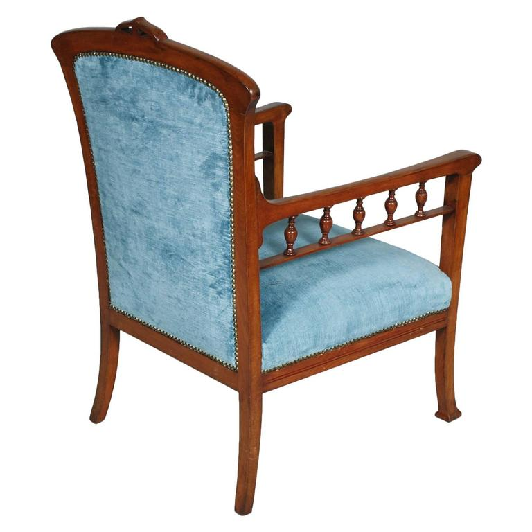 Code: FL25  Elegant original Italian Art Nouveau armchair in solid walnut with, new Velvet Upholstered, The style is that of Eugenio Quarti (1867-1929) - Italian Furniture & Cabinet Maker in the Stile Liberty (Art Nouveau Style). Quarti Worked