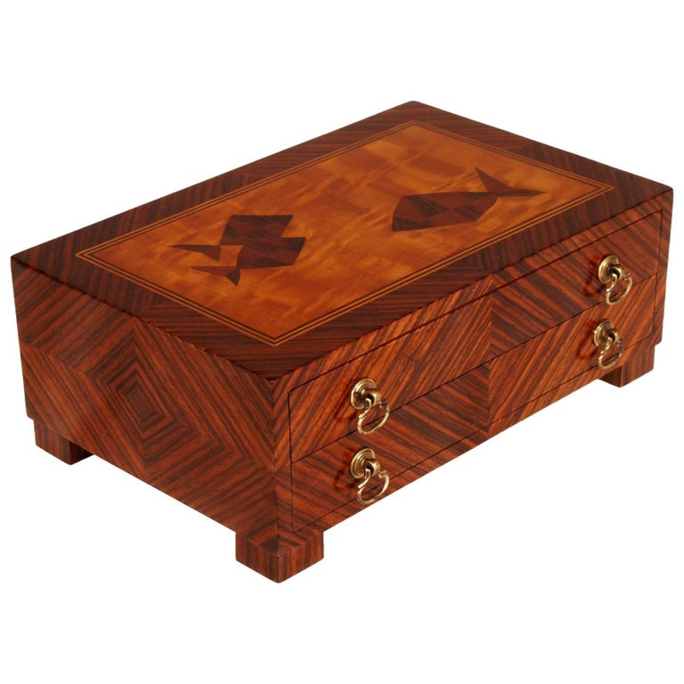 Mid-Century Modern Wooden Box Briar for Jewelry of 1940s For Sale