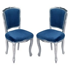 Luois XV  Venetian Side Chairs in silvered Hand-Carved Walnut, new upholstered