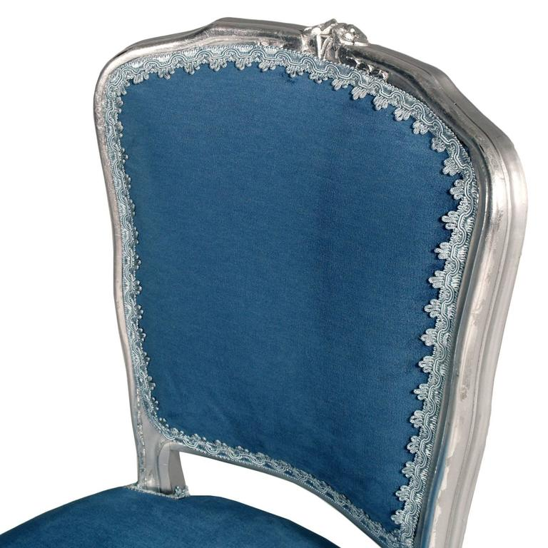 Italian Luois XV  Venetian Side Chairs in silvered Hand-Carved Walnut, new upholstered For Sale