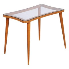 Mid-Century Modern Coffee Table Ico Parisi manner, in walnut with Glass Top