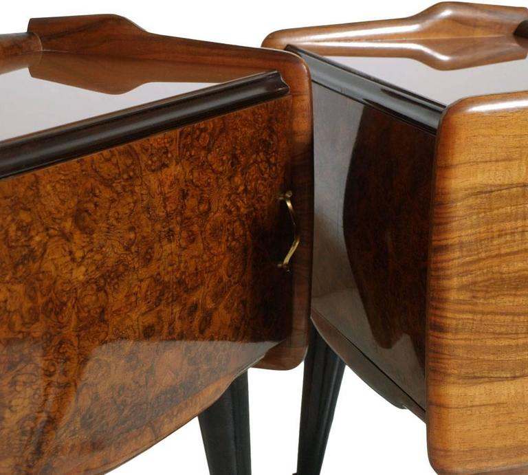 Paolo Buffa Manner Italian Mid-Century Modern Bedside Tables Burl Walnut, 1940s 3