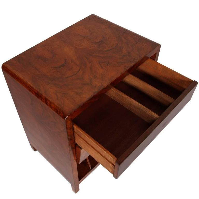 1930s Art Deco Burl Walnut Cabinet Vinyl Storage Or Magazine Rack