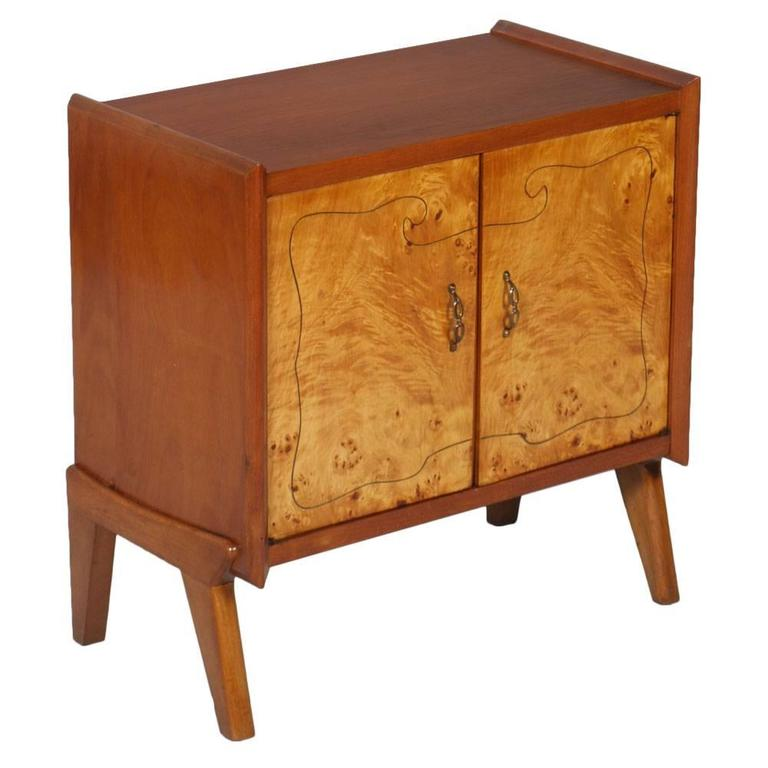 Mid-Century Cabinet Paolo Buffa Manner Blond Walnut Burr Birch Inlay Threaded For Sale