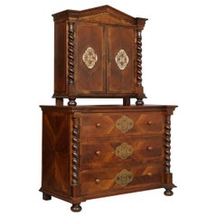 Chest of Drawers Trumeau Two Parts Walnut Inlaid and Carved, 19th Century