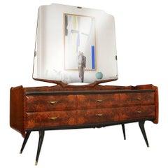 Mid-Century Modern Dresser Mirrored Sideboard , Style Osvaldo Borsani, in Burl