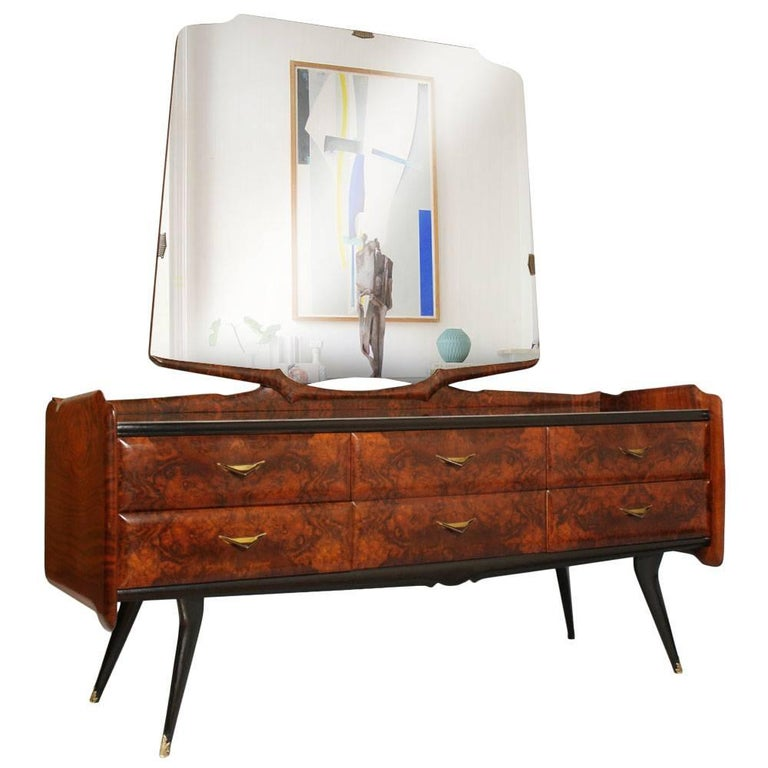 Mid-Century Modern Dresser Mirrored Sideboard , Style Osvaldo Borsani, in Burl For Sale