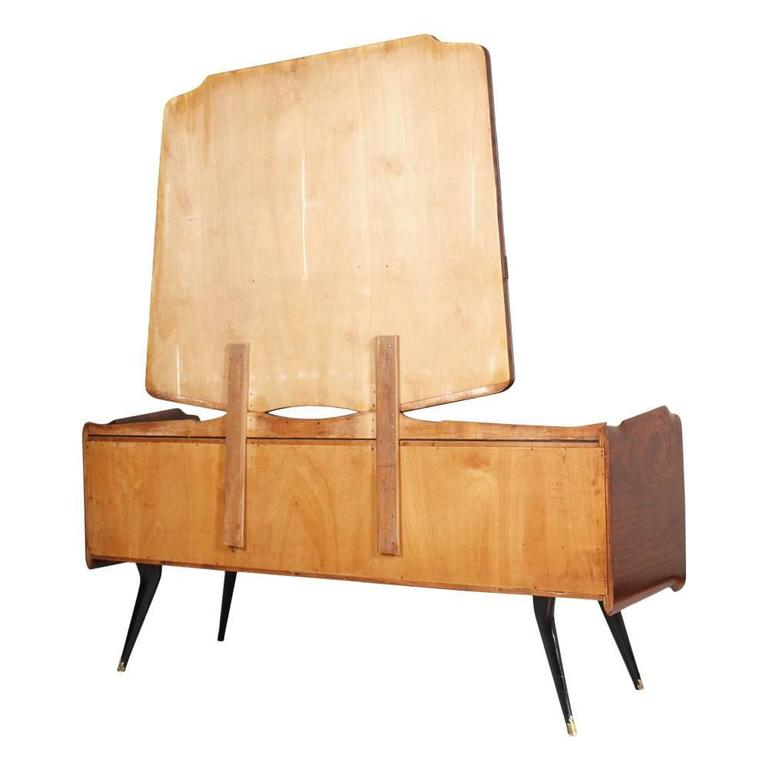 Brass Mid-Century Modern Dresser Mirrored Sideboard , Style Osvaldo Borsani, in Burl For Sale
