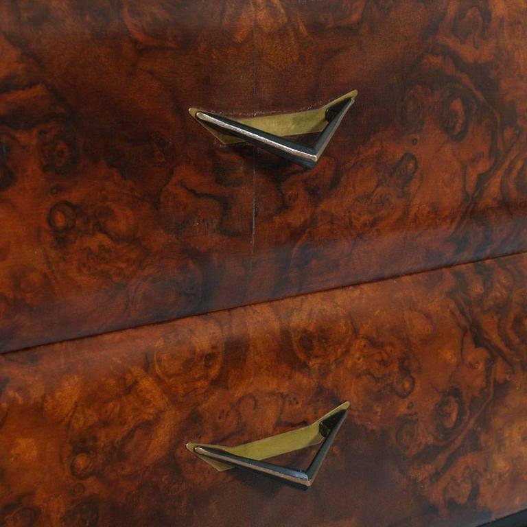 20th Century Mid-Century Modern Dresser Mirrored Sideboard , Style Osvaldo Borsani, in Burl For Sale