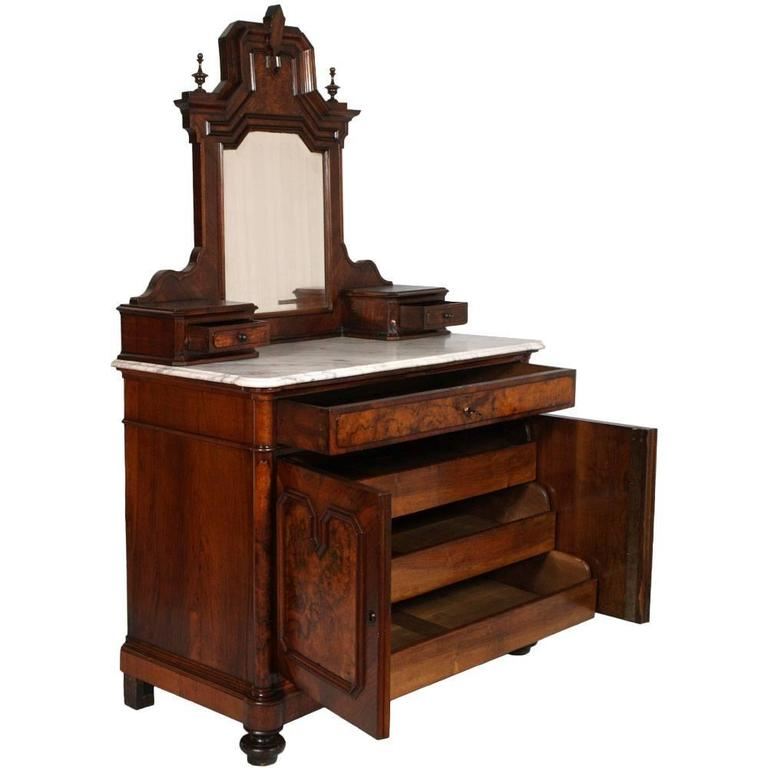 Code: FI58  Neoclassic  dresser in solid walnut and burl walnut of the late nineteenth century with two doors. Table mirror with two small side drawers. Top in white marble of Carrara shaped and terminated beak of  owl. Ample drawer and two doors