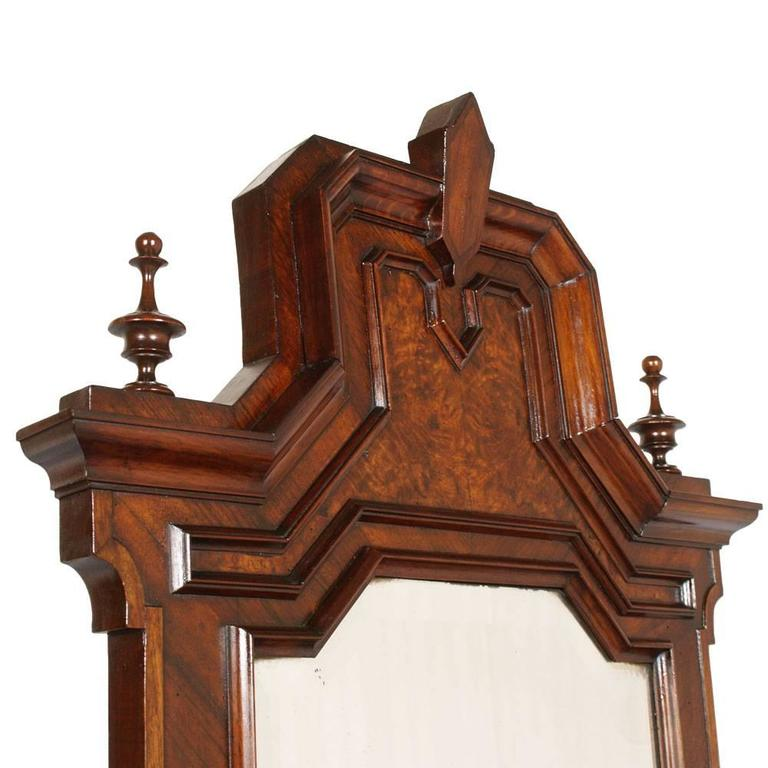 19th Century Chest of Drawers, commode with mirror, Carrara Marble, Burl Walnut For Sale 1
