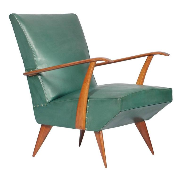 Italian Mid-Century Modern Carlo Mollino Armchair Lounge Chair, 1930s-1940s