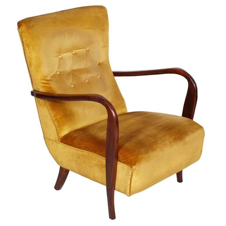 Mid Century Modern Armchair Carlo Mollino Style Period 1940s Walnut And  Velvet For Sale
