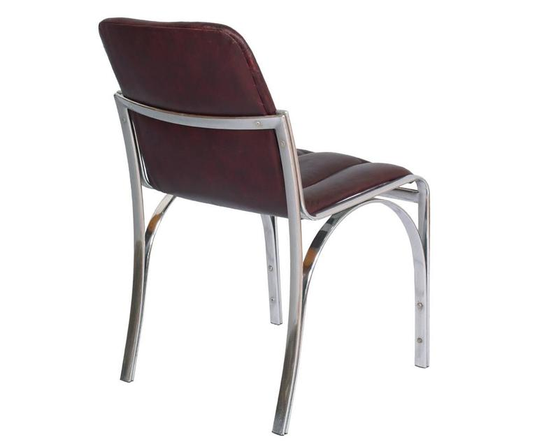Streamlined Moderne Italian 1970s Chairs Chromed Steel and Soft Leather  Gastone Rinaldi Manner For Sale