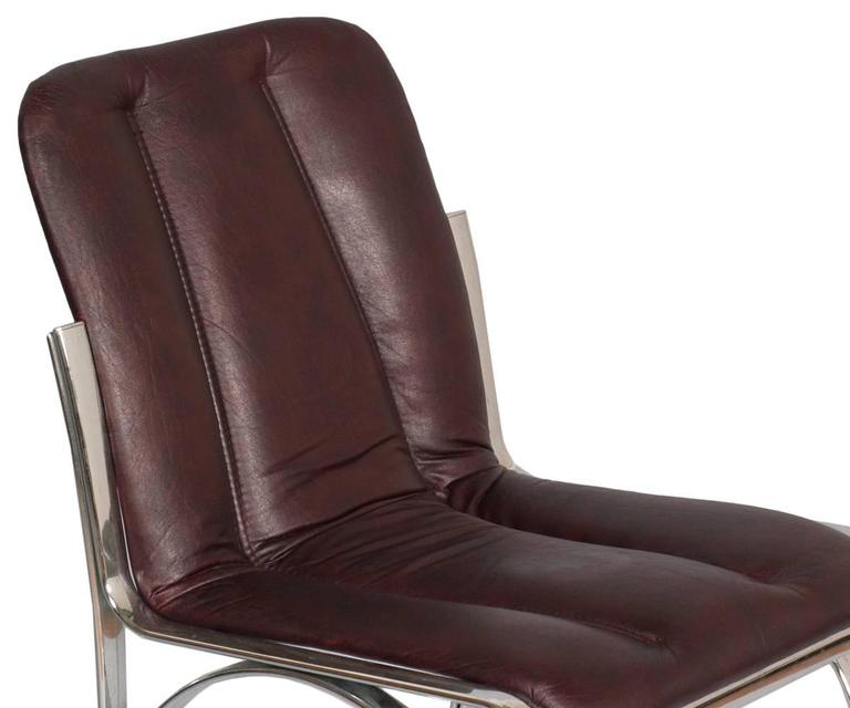 20th Century Italian 1970s Chairs Chromed Steel and Soft Leather  Gastone Rinaldi Manner For Sale